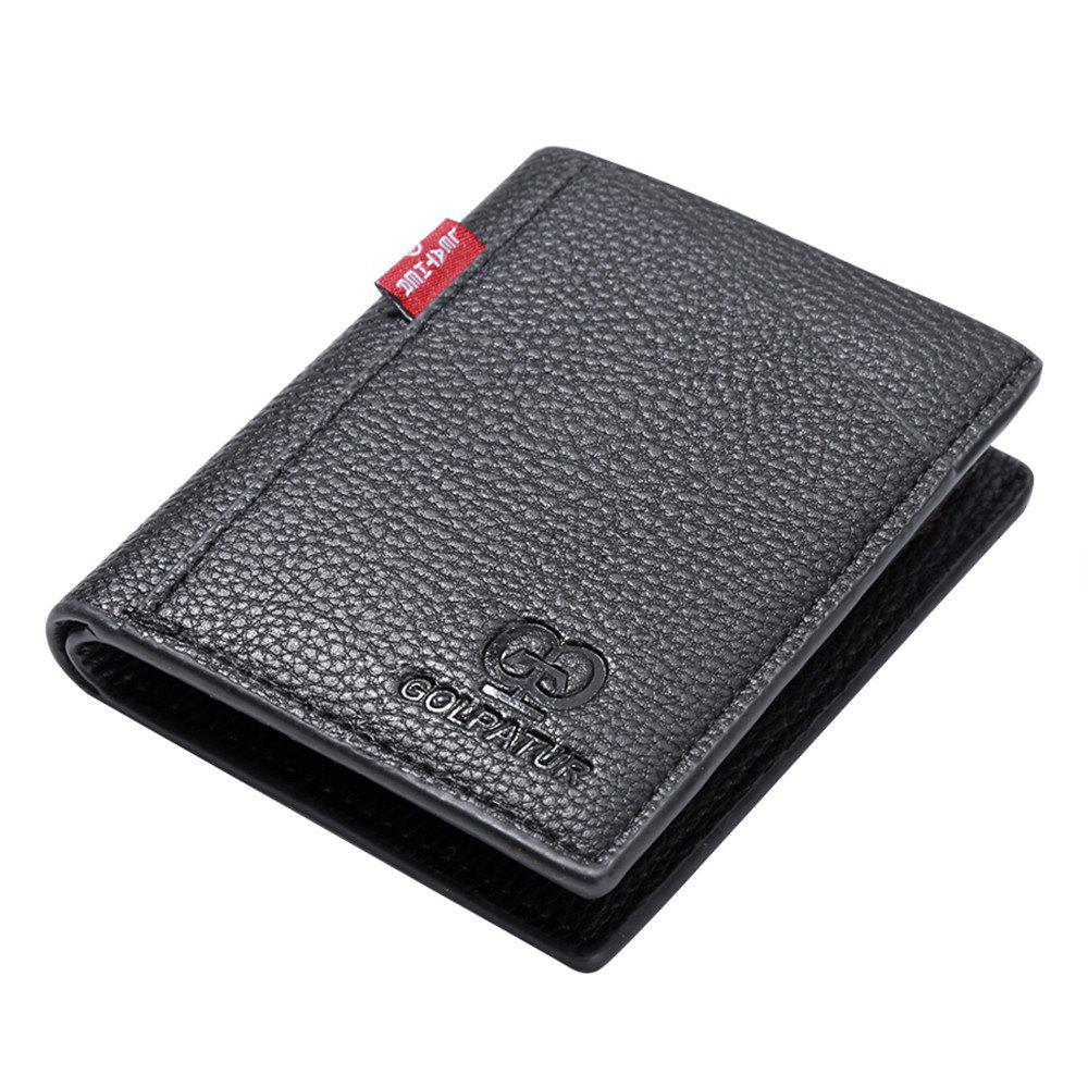 Outfit Portable Soft Lychee Print Wallet Men Bifold Short Card Holder