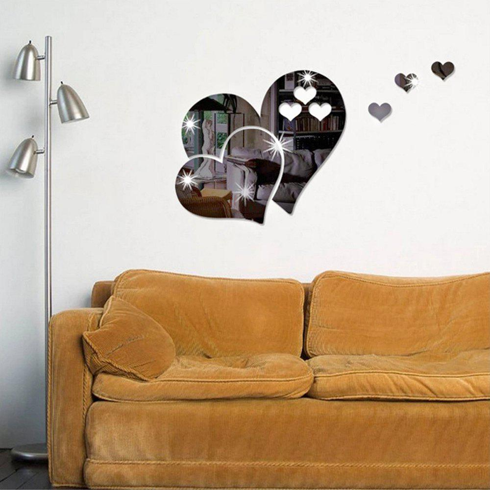 Heart Wall Decal Sticker Lovely DIY Home Art Mirror StickerHOME<br><br>Color: SILVER;
