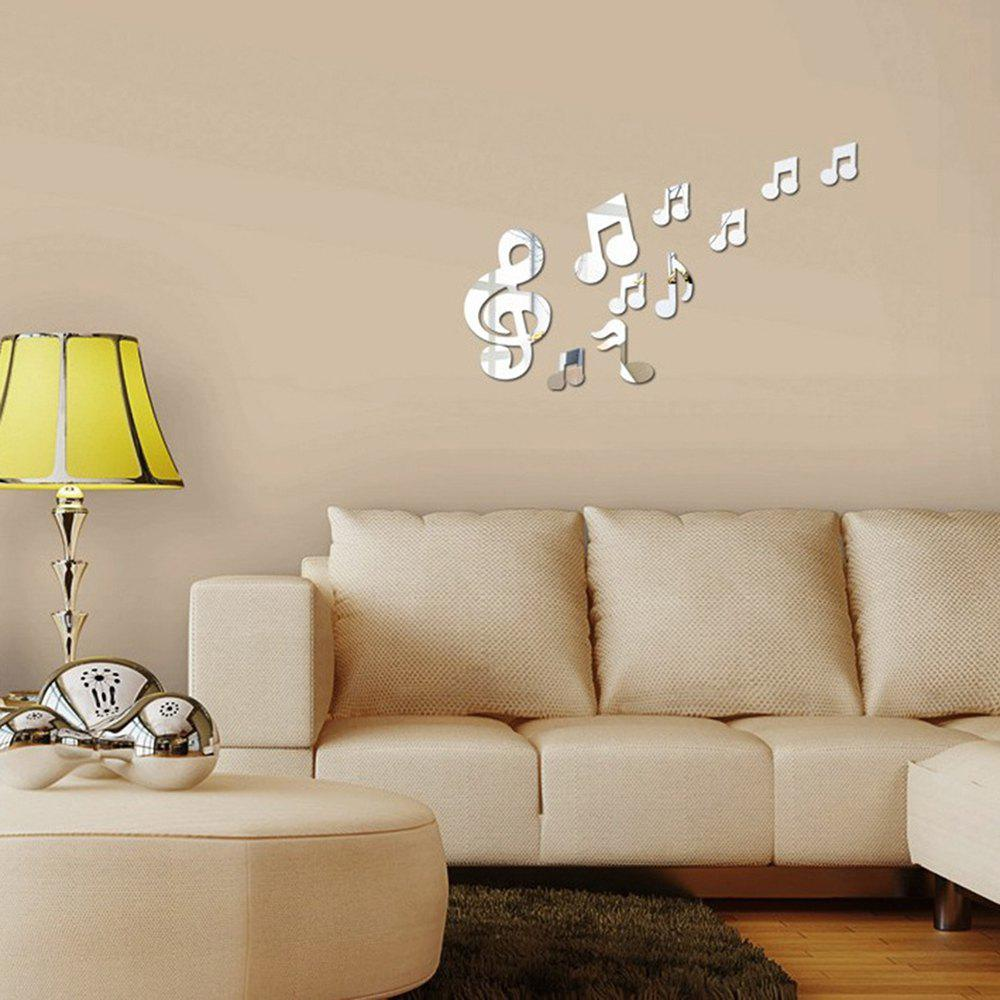 DIY Wall Mirror Posted Notes 10 Pieces Sticker for Music / Dance RoomHOME<br><br>Color: SILVER; Type: Mirror Wall Sticker,Plane Wall Sticker; Subjects: Cartoon,Fashion,Mirror,Music,Still Life; Function: Decorative Wall Sticker; Material: PMMA; Suitable Space: Bedroom,Boys Room,Cafes,Dining Room,Game Room,Girls Room,Hotel,Kids Room,Kids Room,Living Room,Office,Study Room / Office; Quantity: 10;
