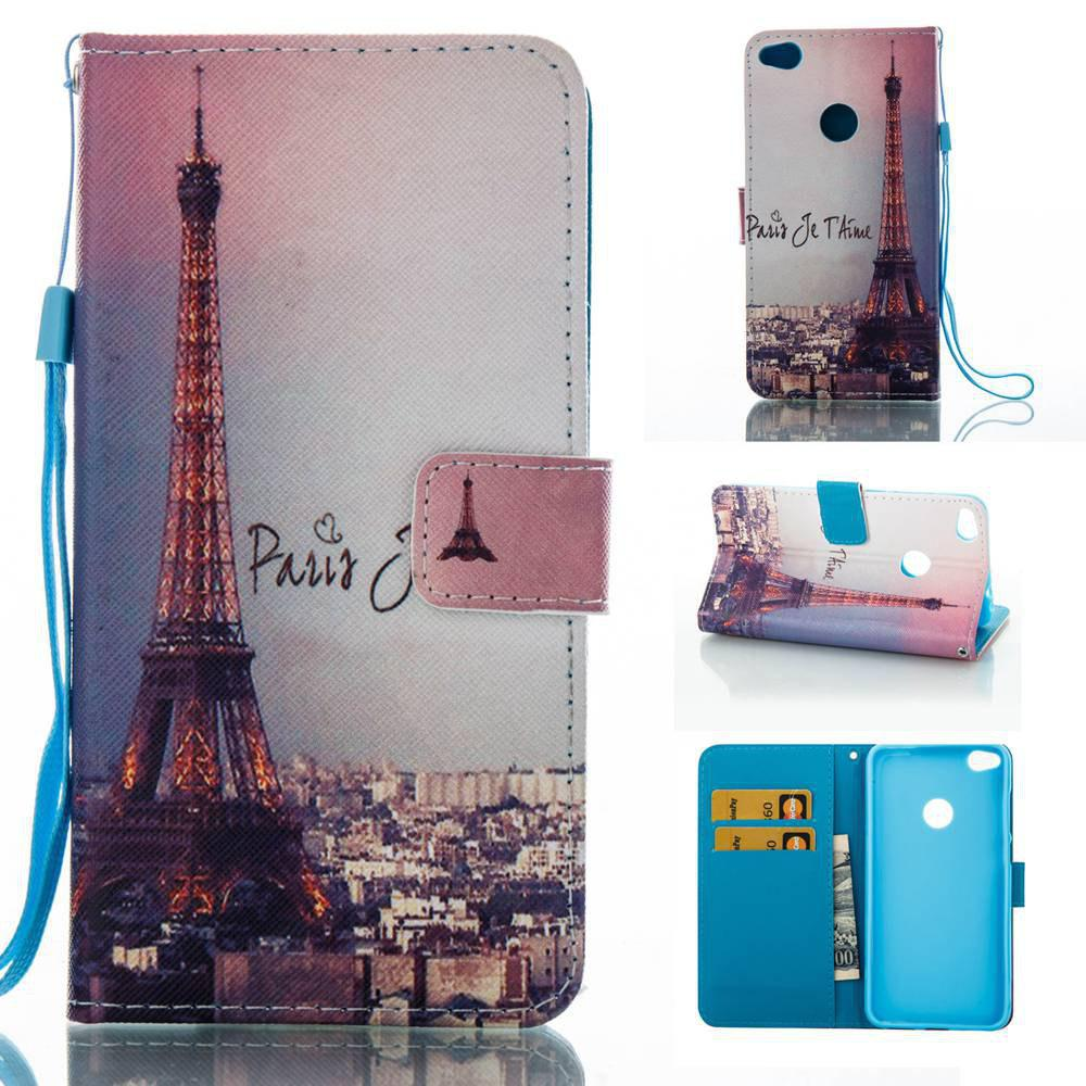 Outfit Signature Tower Painted PU Phone Case for HUAWEI P8 Lite 2017