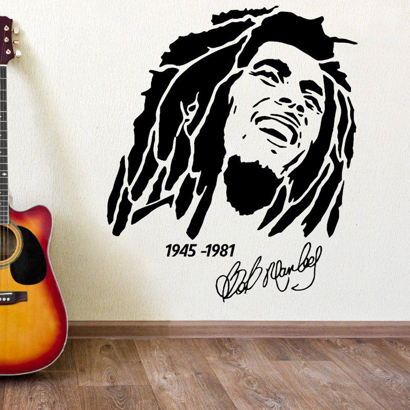 DSU Bob Marley Portrait 1945 - 1981 Wall StickerHOME<br><br>Color: BLACK; Brand: DSU; Type: Plane Wall Sticker; Subjects: Fashion,Leisure,Music,Vintage; Function: Decorative Wall Sticker; Material: Vinyl(PVC); Suitable Space: Bedroom,Hotel,Living Room,Study Room / Office; Layout Size (L x W): 69 x 58cm; Effect Size (L x W): 58 x 69 cm; Quantity: 1;