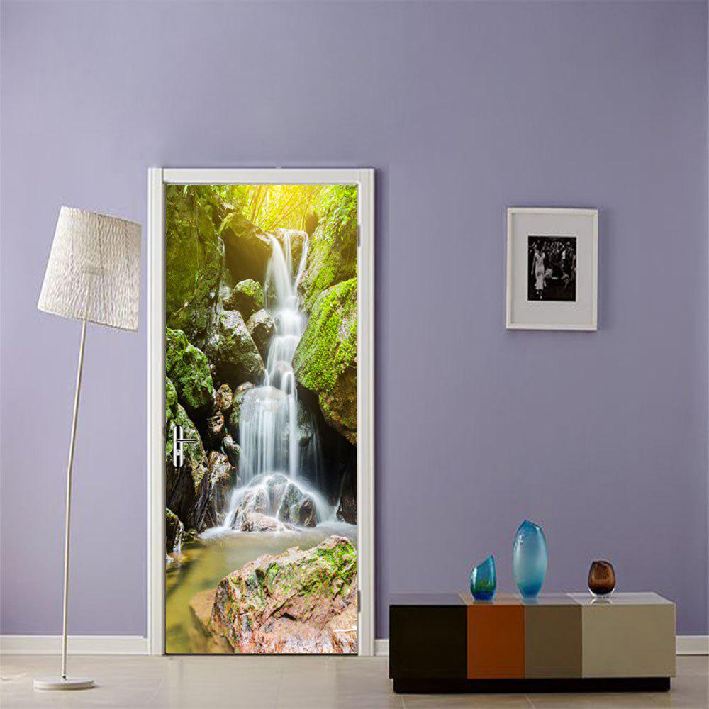 DSU MT062 Alpine Falls  Wall Sticker Mural Bedroom Door Poster Home DecorHOME<br><br>Color: MIXED COLOR; Brand: DSU; Type: Plane Wall Sticker; Subjects: Botanical,Cute,Holiday,Landscape,Still Life; Function: Decorative Wall Sticker; Material: Vinyl(PVC); Suitable Space: Boys Room,Corridor,Girls Room,Hotel,Kids Room,Kids Room,Living Room; Layout Size (L x W): 38.5 x 200 cm x 2 pieces; Effect Size (L x W): 77 x 200 cm; Quantity: 1;
