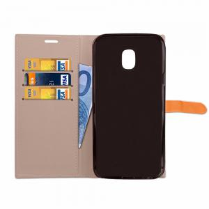 Velcro Business Card Lanyard Pu Leather for Samsung J720(2017) -