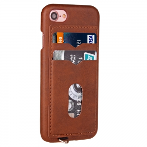 Simple stripes Card Lanyard Pu Leather for iPhone 7 -