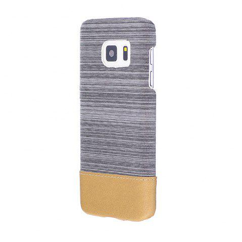 Cheap Wkae Jeans Canvas Leather Back Case Cover for Samsung Galaxy S7
