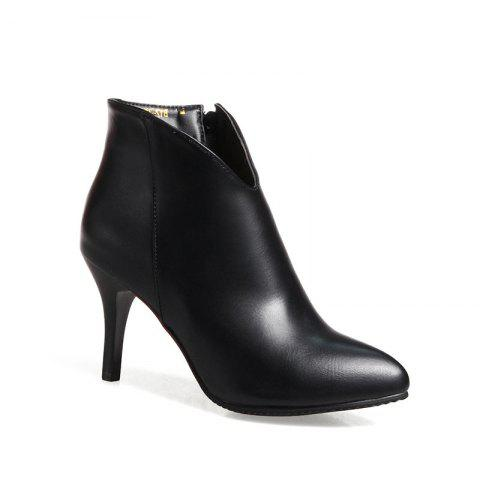 Buy Women's Thin-Heeled Ankle Boots Metal Color Simple Pointed Toe High Heels