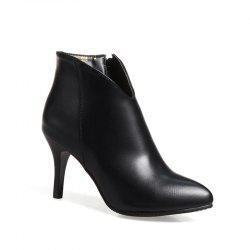 Women's Thin-Heeled Ankle Boots Metal Color Simple Pointed Toe High Heels -