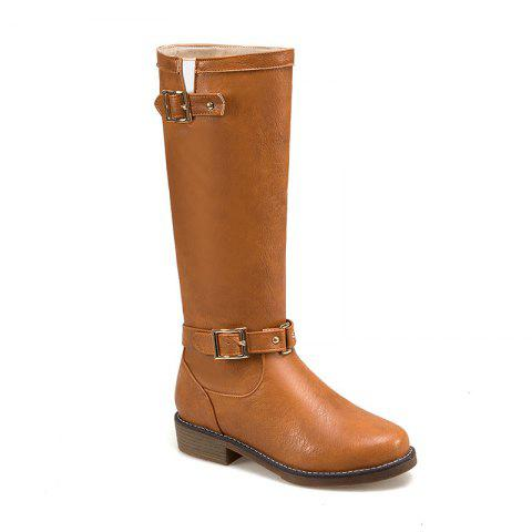 Affordable New Style Low Heel Comfortable Leather Buckle The Knight Boots