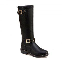 New Style Low Heel Comfortable Leather Buckle The Knight Boots -
