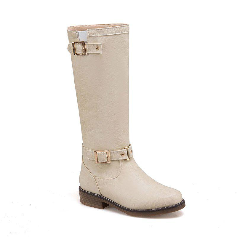 Discount New Style Low Heel Comfortable Leather Buckle The Knight Boots
