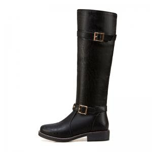 The New Style Leather Buckle Is Low Heel Lady Boots -