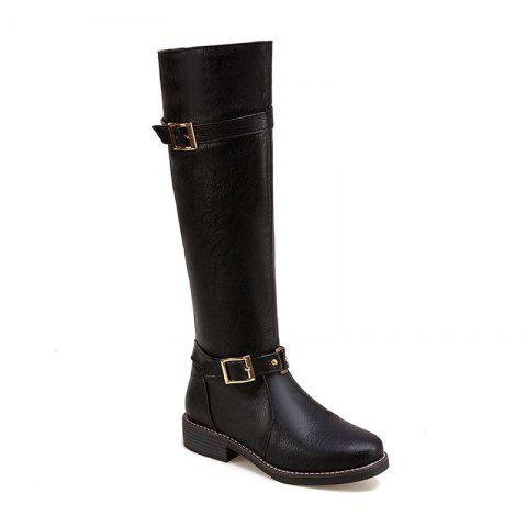 Store The New Style Leather Buckle Is Low Heel Lady Boots
