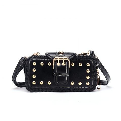 Online Woven Rivet Multiple Layers Handbag Single-shoulder Crossbody Bag