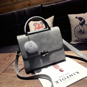 New Autumn Lichee Grain Pompon Handbag Crossbody Bag -