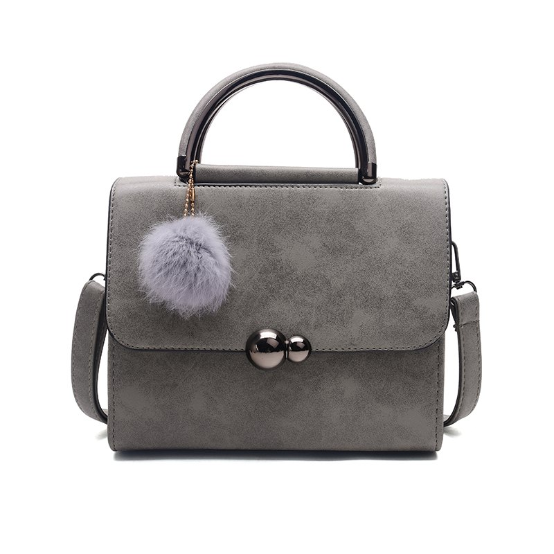 New Autumn Lichee Grain Pompon Handbag Crossbody BagSHOES &amp; BAGS<br><br>Color: CHROME; Handbag Type: Crossbody bag; Style: Casual; Gender: For Women; Pattern Type: Solid; Closure Type: Cover; Occasion: Versatile; Main Material: PU;