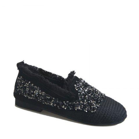 Store Women's Knitting  Sequins  Decorative Flat Bottom Casual Shoes