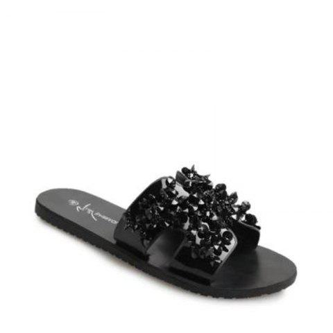 Discount H Shape Bare Toe Rhinestone Slippers