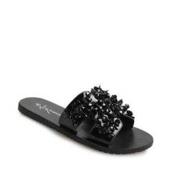 H Shape Bare Toe Rhinestone Slippers -