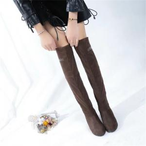 YQ-W607 Stretch Flannel Slope with High Tube Flat Over The Knee Boots -