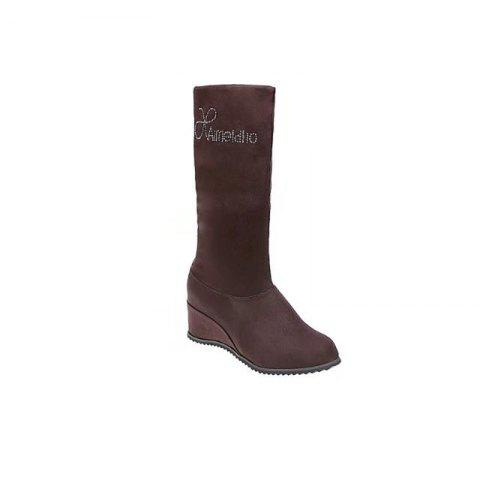 Fancy YQ-W607 Stretch Flannel Slope with High Tube Flat Over The Knee Boots