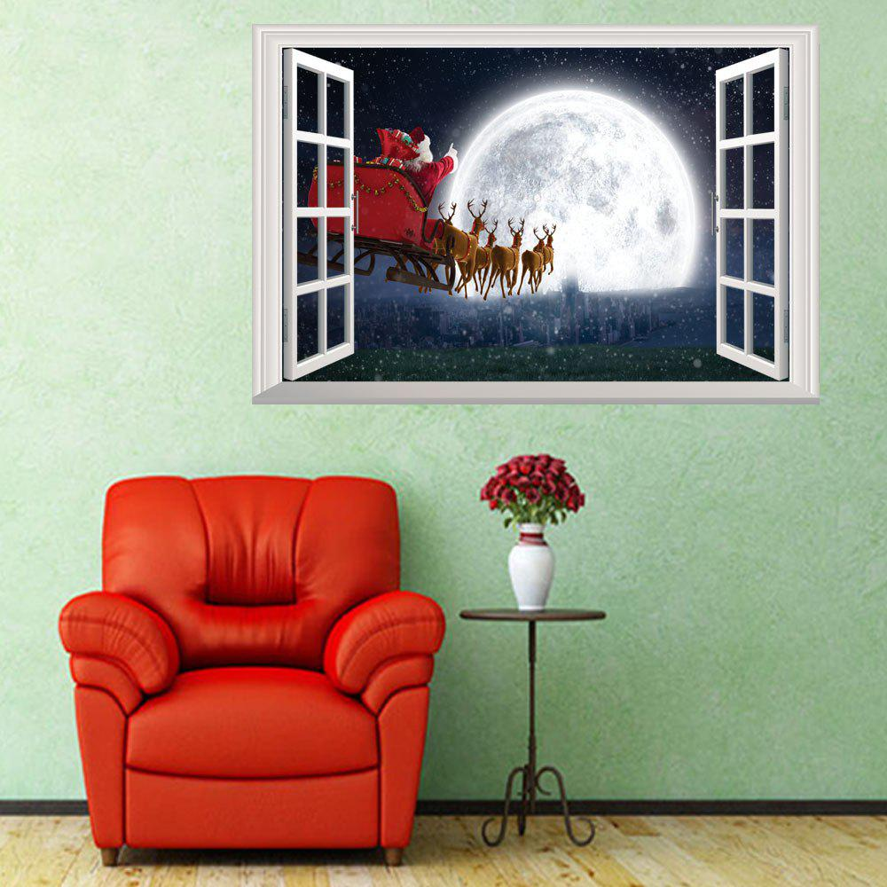 Santa Claus Send Presents Snowy Night Reindeer Caravan Children Room DecorationHOME<br><br>Color: COLORMIX; Type: 3D Wall Sticker; Subjects: Christmas; Art Style: Plane Wall Stickers; Color Scheme: Others; Artists: Others; Function: 3D Effect,Decorative Wall Sticker; Material: Vinyl(PVC); Suitable Space: Bedroom,Boys Room,Girls Room,Kids Room,Kids Room; Layout Size (L x W): 50 x 70cm; Effect Size (L x W): 50 x 70cm; Quantity: 1;