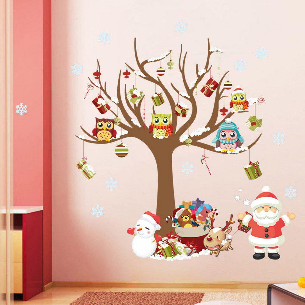 Santa Claus Christmas Tree Decoration Window Wall StickerHOME<br><br>Color: COLORMIX; Type: Plane Wall Sticker; Subjects: Cartoon,Christmas; Art Style: Plane Wall Stickers; Color Scheme: Others; Artists: Others; Function: Decorative Wall Sticker; Material: Vinyl(PVC); Suitable Space: Bedroom,Boys Room,Cafes,Dining Room,Game Room,Girls Room,Kids Room,Kids Room,Living Room,Office; Layout Size (L x W): 28cm  x 80cm x 2pcs; Effect Size (L x W): 80 x 88cm; Quantity: 2;