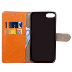 Hit Color Cowboy Stripe Leaf Card Lanyard Pu Leather for iPhone 7 -