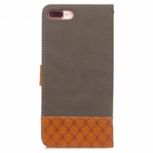 Hit couleur Cowboy Stripe Leaf Card Longe Pu cuir pour iPhone 7 Plus -