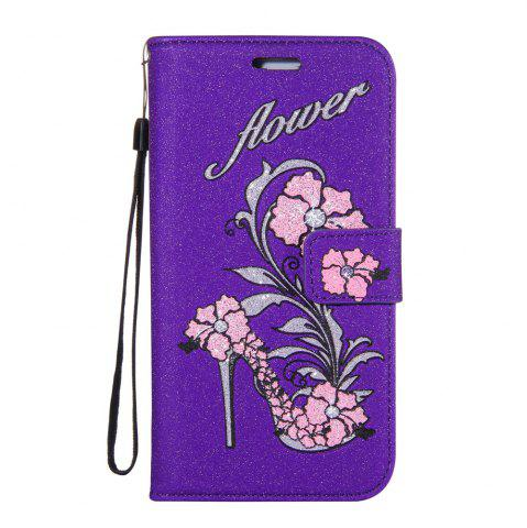 Cheap Wkae Printed Rattan Shoes Leather Case Cover with Holder Lanyard and Card Slots for Sony Xperia L1