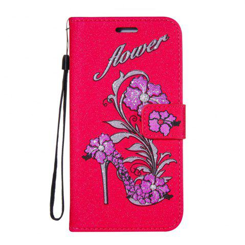 Affordable Wkae Printed Rattan Shoes Leather Case Cover with Holder Lanyard and Card Slots for Sony Xperia L1