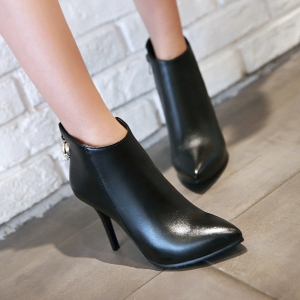Women's Ankle Boots Vogue Solid Metal Decor Pointed Toe Cozy Shoes -