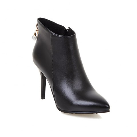Online Women's Ankle Boots Vogue Solid Metal Decor Pointed Toe Cozy Shoes