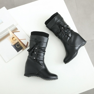 Women's Boots Stylish Solid Bow Decoration Tassel Lady's Shoes -