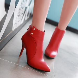Women's Ankle Boots Pointed Toe Zipper Decor High Heel Chic Shoes -