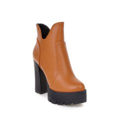 Women's Ankle Boots Solid Color Size Zipper High Heel Shoes -