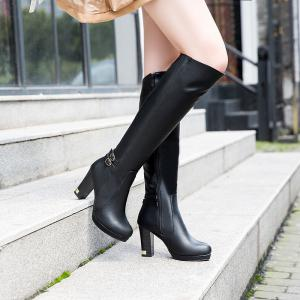 Women's Knee Boots Chic Brief Style Solid Metal Buckle Decor Travel Luxury Shoes -