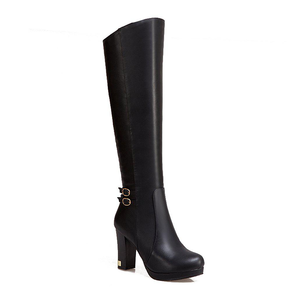 Shops Women's Knee Boots Chic Brief Style Solid Metal Buckle Decor Travel Luxury Shoes