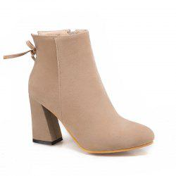 The New Side Zipper Coarse High Heel Fashion Bow Women's Boots -