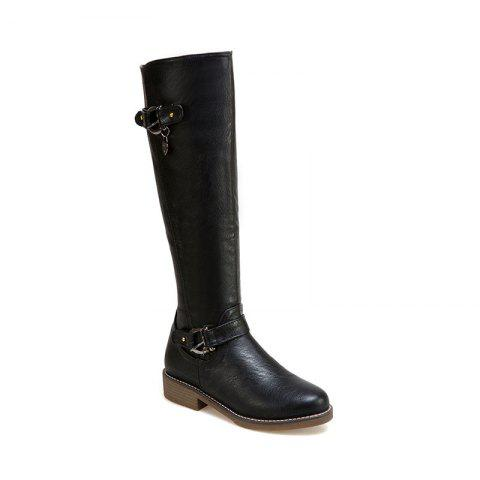 Chic New Style Low Heel Buckles The European and American Style High Boots