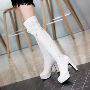 Women's Above Knee Boots Round Toe Drawstring Type Faddish Shoes -