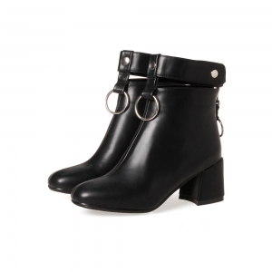 Women's Ankle Boots Square Toe Thick Heel Round Ring Ornament Stylish Fashion Boots -