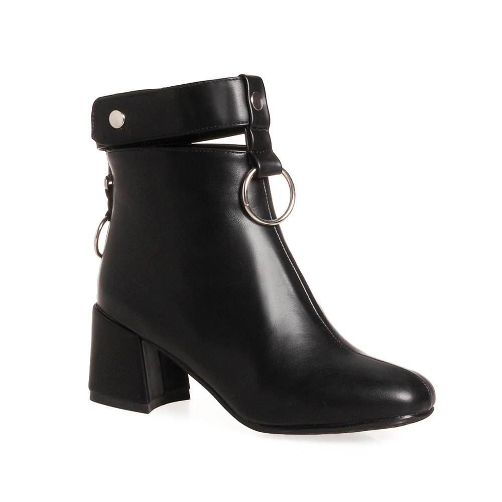 Buy Women's Ankle Boots Square Toe Thick Heel Round Ring Ornament Stylish Fashion Boots