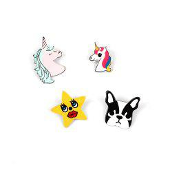 4Pcs Women's Body Accessory Set Colorful Cartoon Animal Pattern Brooches -