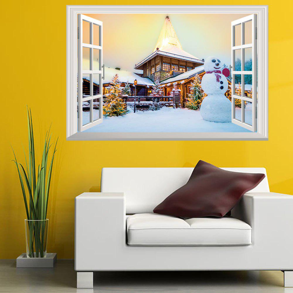 New Year Christmas New 3D Window Snow Scene Snowman Christmas TreeHOME<br><br>Color: COLORMIX; Type: 3D Wall Sticker; Subjects: Cartoon,Christmas; Art Style: Plane Wall Stickers; Color Scheme: Others; Artists: Others; Function: Decorative Wall Sticker; Material: Vinyl(PVC); Suitable Space: Bedroom,Boys Room,Game Room,Girls Room,Kids Room,Kids Room; Layout Size (L x W): 50 x 70cm; Effect Size (L x W): 50 x 70cm; Quantity: 1;