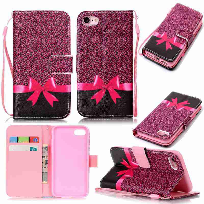 Fashion Bow Tie Painted PU Phone Case for iPhone 7 / 8