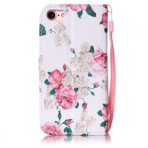 White Flowers Painted PU Phone Case for iPhone 7 / 8 -