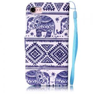 Elephant Painted PU Phone Case pour iPhone 7/8 -