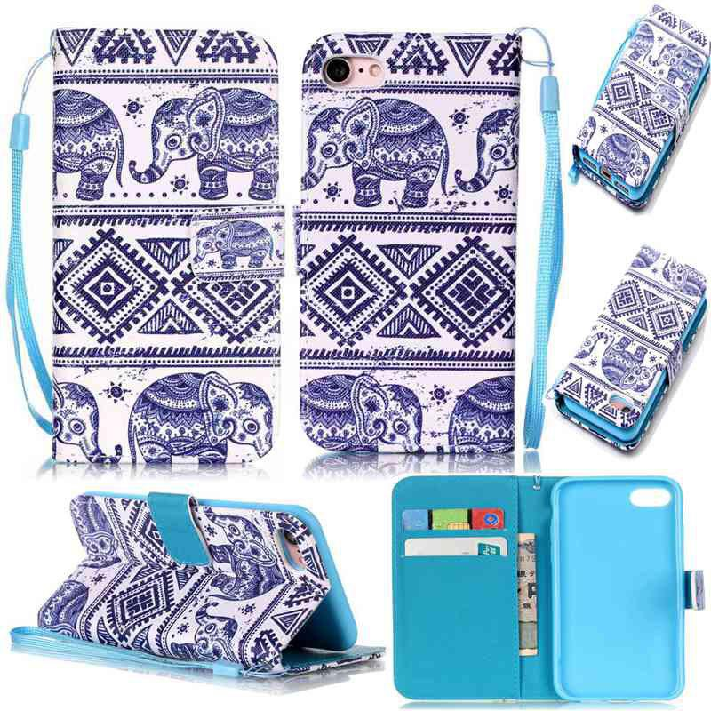 Chic Elephant Painted PU Phone Case for iPhone 7 / 8