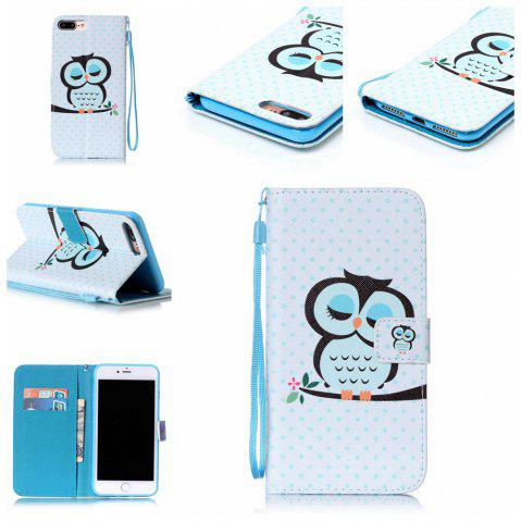 Affordable Sleep Owl Painted PU Phone Case for iPhone 7 Plus / 8 Plus