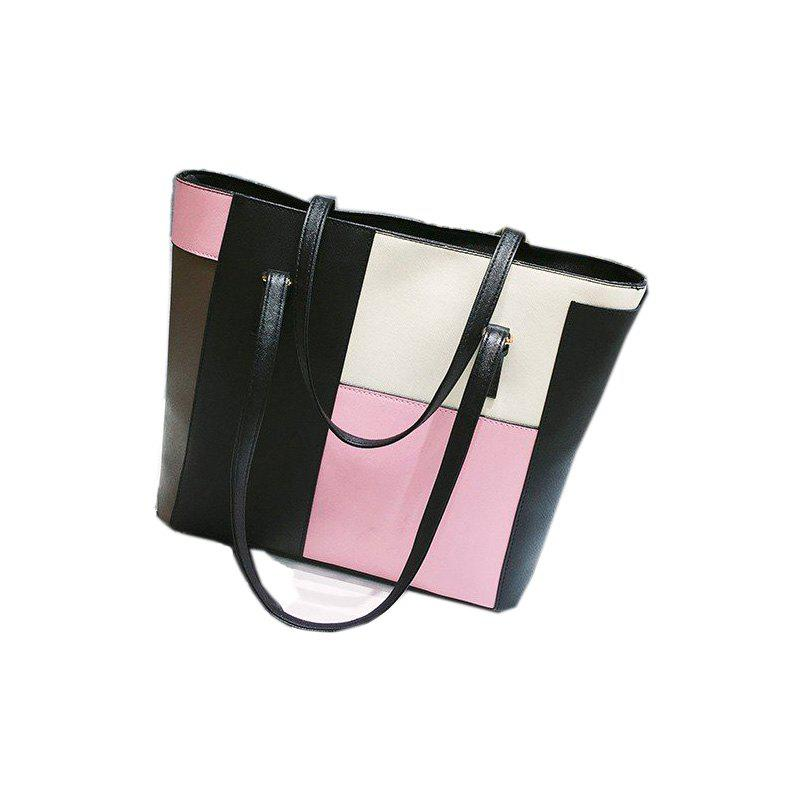 PU Leather Handbags Large Capacity Shoulder BagSHOES &amp; BAGS<br><br>Color: RED WITH WHITE; Handbag Type: Totes; Style: Fashion; Gender: For Women; Embellishment: Rivet; Pattern Type: Patchwork; Closure Type: Zipper; Main Material: PU; Weight: 2.7898kg; Shape: Bucket,Hobos; Lining Material: Polyester; Number of Handles / Straps: Two; Exterior: None,Open Pocket; Package weight: 0.5900 kg; Package size (L x W x H): 37.00 x 13.00 x 29.00 cm / 14.57 x 5.12 x 11.42 inches; Package Contents: 1 x Tote;